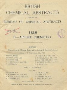 British Chemical Abstracts. B.-Applied Chemistry. May 11