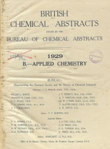 British Chemical Abstracts. B.-Applied Chemistry. January 4. Foreword