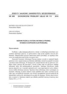 Kierunki rozwoju informacji prawnej w ramach gospodarki elektronicznej
