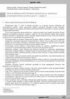 Ocena efektywności kanałów dystrybucji w wybranym przedsiębiorstwie produkcyjnym Cz. 2