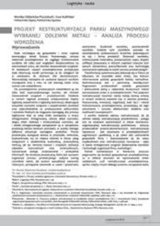 Projekt restrukturyzacji parku maszynowego wybranej odlewni metali - analiza procesu wdrożenia