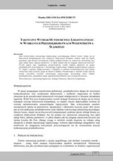Taktyczny wymiar outsourcingu logistycznego w wybranych przedsiębiorstwach województwa śląskiego
