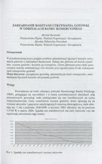 Zarządzanie kosztami utrzymania gotówki w oddziałach banku komercyjnego