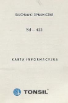 Słuchawki dynamiczne Sd-422 : karta informacyjna