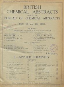 British Chemical Abstracts. B.-Applied Chemistry. December 19 and 26