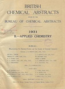 British Chemical Abstracts. B.-Applied Chemistry. July 31 and August 7