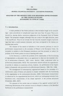 Analysis of the method used for measuring effectiveness of the courts in Poland according to type of cases
