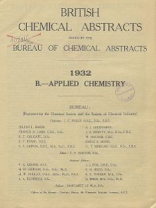 British Chemical Abstracts. B.-Applied Chemistry. January 1 and 8