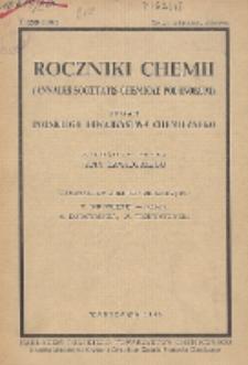 Roczniki Chemii : organ Polskiego Towarzystwa Chemicznego, T. 20, Zeszyt zbiorowy