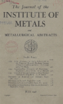 The Journal of the Institute of Metals and Metallurgical Abstracts, July 1946