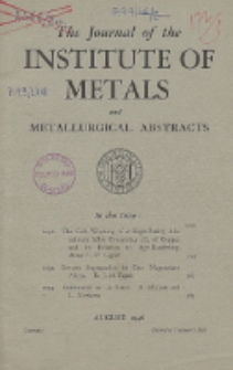 The Journal of the Institute of Metals and Metallurgical Abstracts, August 1946