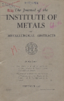 The Journal of the Institute of Metals and Metallurgical Abstracts, Vol. 73, September