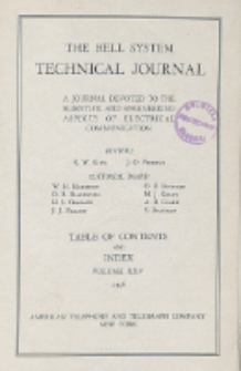 The Bell System Technical Journal : devoted to the Scientific and Engineering aspects of Electrical Communication, Vol. 25, Table of Contents