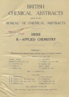 British Chemical Abstracts. B.-Applied Chemistry. October 27 and November 3