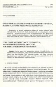 Układ do pomiaru tolerancji stałej indukcyjności A L rdzeni dławików przeciwzakłóceniowych