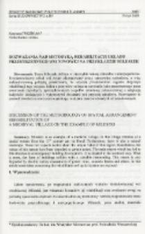 Rozważania nad metodyką rehabilitacji układu przestrzennego wsi niwowej na przykładzie Mileszek