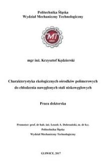 Charakterystyka ekologicznych ośrodków polimerowych do chłodzenia nawęglonych stali niskowęglowych