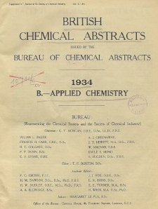 British Chemical Abstracts. B. Applied Chemistry, October 26 and November 2
