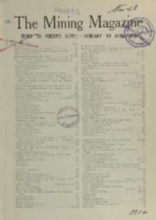 The Mining Magazine, Index