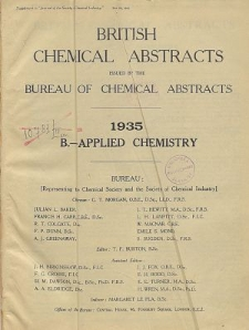 British Chemical Abstracts. B. Applied Chemistry, October 25 and November 1