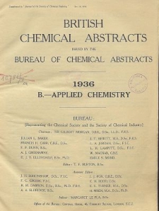 British Chemical Abstracts. B. Applied Chemistry, July 31 and August 7