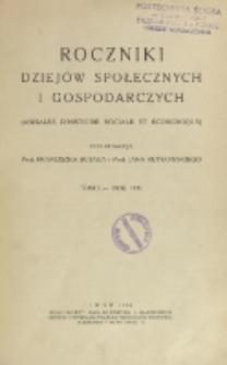 Roczniki Dziejów Społecznych i Gospodarczych, T. 1 (1931)