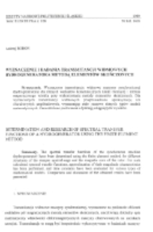 Wyznaczenie i badania transmitancji widmowych hydrogeneratora metodą elementów skończonych