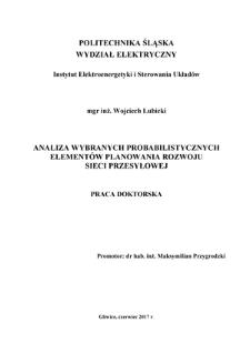 Analiza wybranych probabilistycznych elementów planowania rozwoju sieci przesyłowej