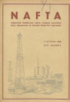 Nafta : miesięcznik poświęcony nauce, technice, statystyce oraz organizacji w polskim przemyśle naftowym, R. 2, Nr 11