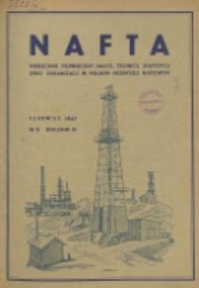 Nafta : miesięcznik poświęcony nauce, technice, statystyce oraz organizacji w polskim przemyśle naftowym, R. 3, Nr 6