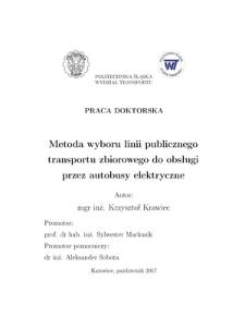 Metoda wyboru linii publicznego transportu zbiorowego do obsługi przez autobusy elektryczne