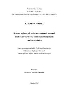 Recenzja rozprawy doktorskiej mgra inż. Radosława Motyki pt. Synteza wybranych π-skoniugowanych połączeń dialkoksybenzenów z terminalnymi resztami chalkogenofenów
