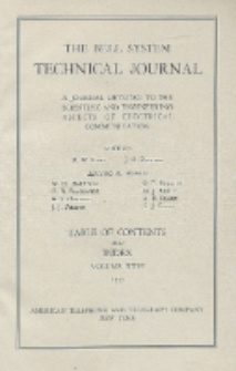 The Bell System Technical Journal : devoted to the Scientific and Engineering aspects of Electrical Communication, Vol. 26, Index