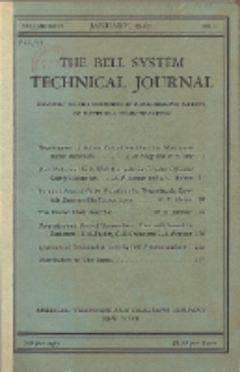 The Bell System Technical Journal : devoted to the Scientific and Engineering aspects of Electrical Communication, Vol. 26, No. 1
