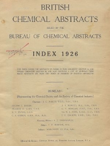 British Chemical Abstracts. Abstracts A and B. Index 1926, List of Patents Abstracted