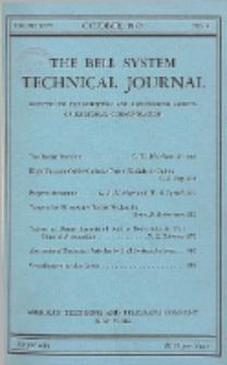 The Bell System Technical Journal : devoted to the Scientific and Engineering aspects of Electrical Communication, Vol. 26, No. 4