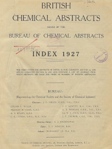 British Chemical Abstracts. Index 1927. List of Patents Abstracted. Journals from which abstracts are made. Abstracts A and B