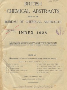 British Chemical Abstracts. List of Patents Abstracted. Index 1928. Journals from which abstracts are made. Abstracts A and B