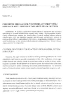 Procedury regulacyjne w systemie automatycznej regulacji mocy biernej w zakładzie przemysłowym