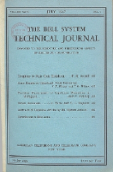 The Bell System Technical Journal : devoted to the Scientific and Engineering aspects of Electrical Communication, Vol. 26, No. 3