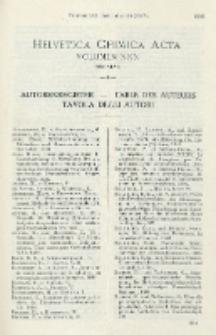 Helvetica Chimica Acta, Autorenregister