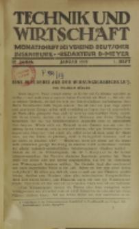 Technik und Wirtschaft : Monatsschrift des Vereines Deutscher Ingenieure, Jg. 12, H. 1