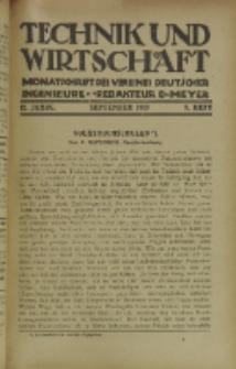 Technik und Wirtschaft : Monatsschrift des Vereines Deutscher Ingenieure, Jg. 12, H. 9