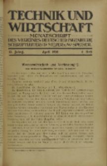 Technik und Wirtschaft : Monatsschrift des Vereines Deutscher Ingenieure, Jg. 13, H. 4