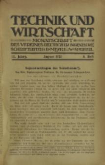 Technik und Wirtschaft : Monatsschrift des Vereines Deutscher Ingenieure, Jg. 13, H. 8