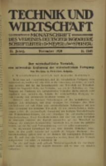 Technik und Wirtschaft : Monatsschrift des Vereines Deutscher Ingenieure, Jg. 13, H. 11