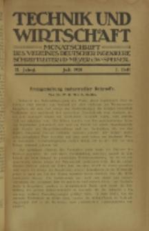 Technik und Wirtschaft : Monatsschrift des Vereines Deutscher Ingenieure, Jg. 13, H. 7