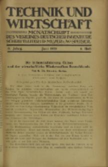 Technik und Wirtschaft : Monatsschrift des Vereines Deutscher Ingenieure, Jg. 13, H. 6