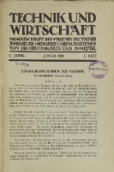 Technik und Wirtschaft : Monatsschrift des Vereines Deutscher Ingenieure, Jg. 3, H. 1