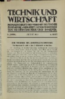 Technik und Wirtschaft : Monatsschrift des Vereines Deutscher Ingenieure, Jg. 3, H. 8